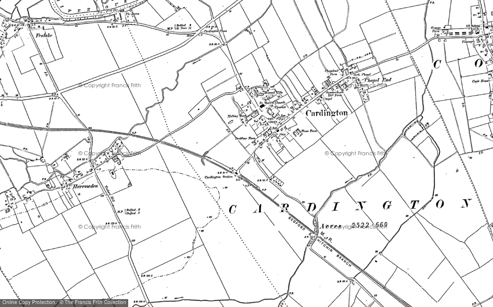 Old Map of Cardington, 1882 in 1882