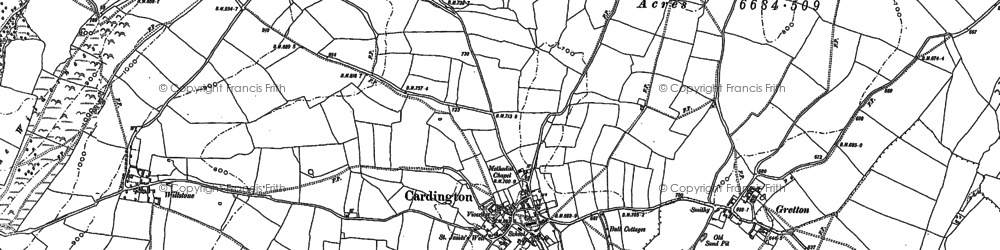 Old map of Cardington in 1882
