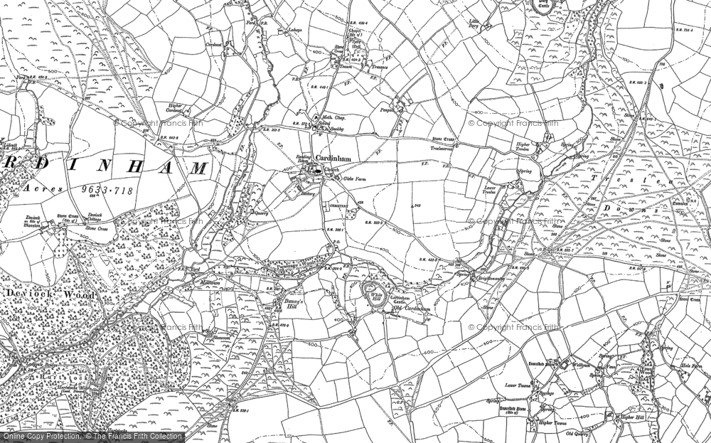 Old Map of Historic Map covering Lidcutt Wood in 1881