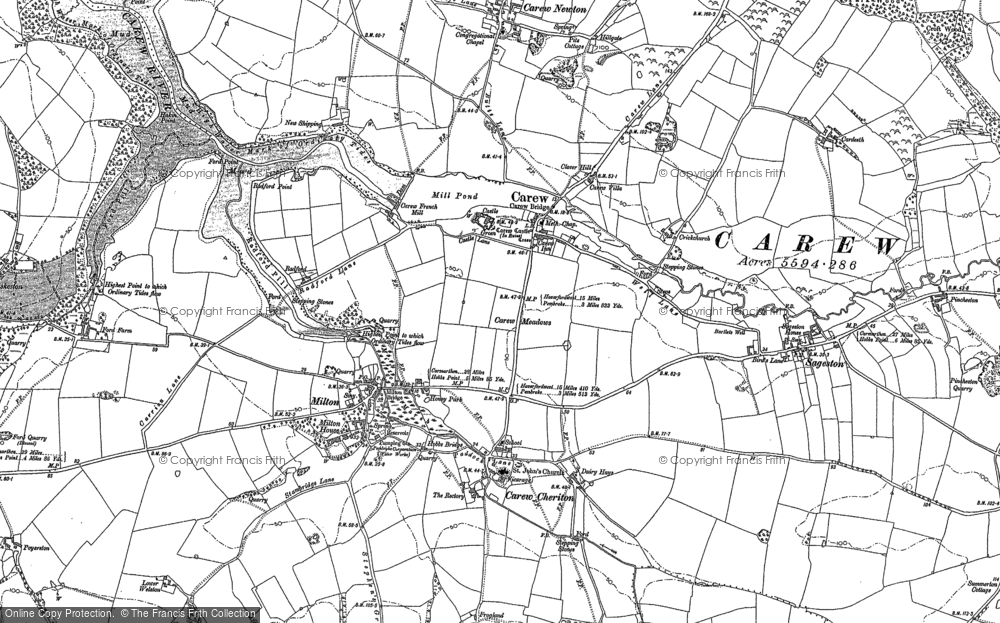 Old Map of Carew, 1906 in 1906