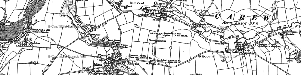 Old map of Carew in 1906
