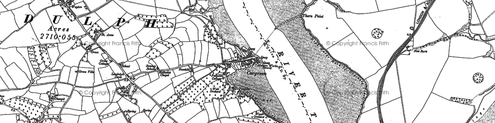 Old map of Cargreen in 1865