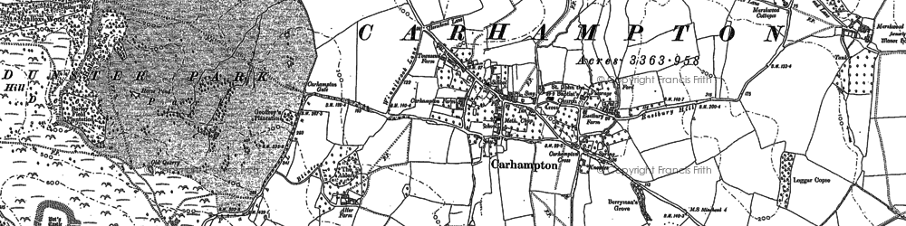 Old map of Aller Hill in 1887