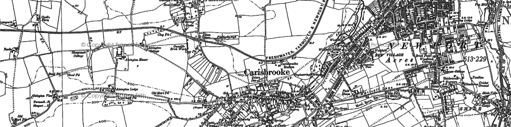 Old map of Carisbrooke in 1896