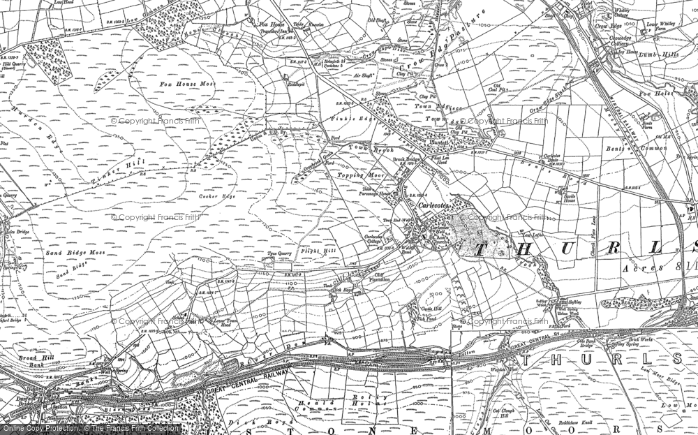Old Map of Historic Map covering Thurlstone Moors in 1888