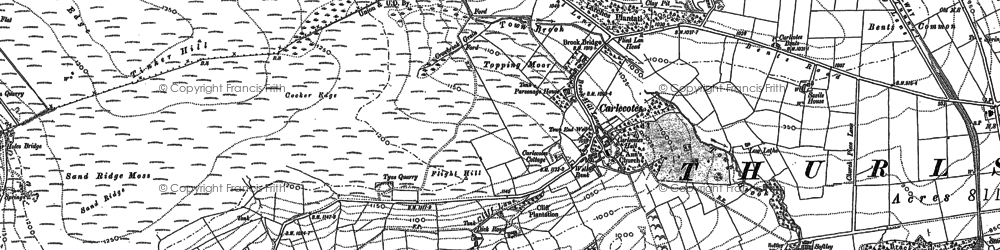 Old map of Wogden Clough in 1888