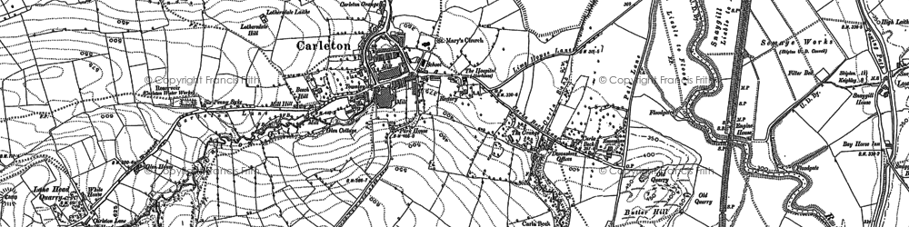 Old map of Carleton-in-Craven in 1893