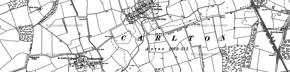 Old map of Hardwick in 1914