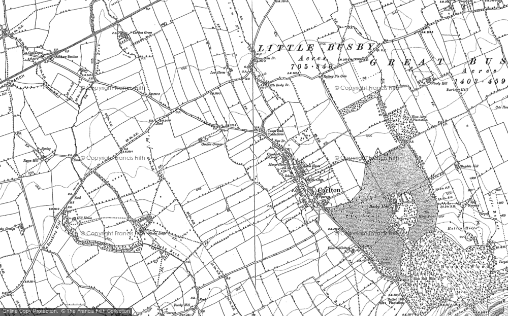 Old Map of Historic Map covering Thwaites Ho in 1892