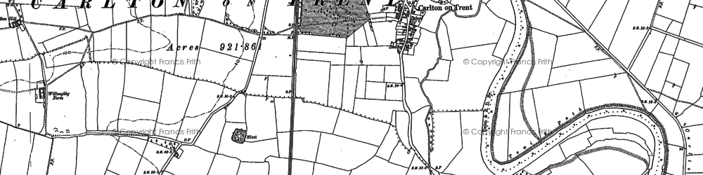 Old map of Carlton-on-Trent in 1884