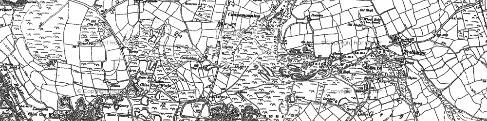 Old map of Carluddon in 1881