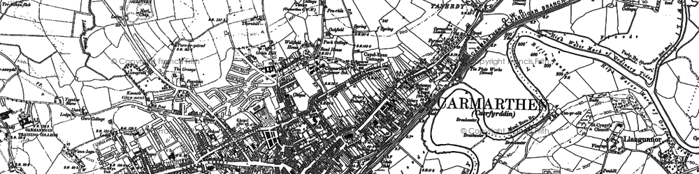 Old map of Carmarthen in 1886