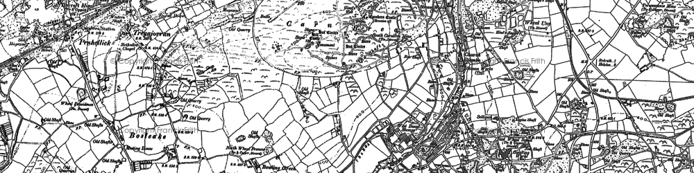 Old map of Carn Brea in 1878