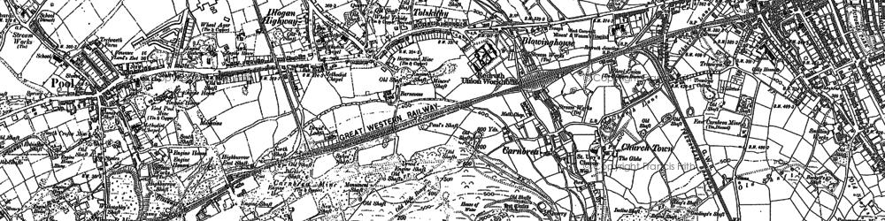 Old map of Carn Brea Village in 1878