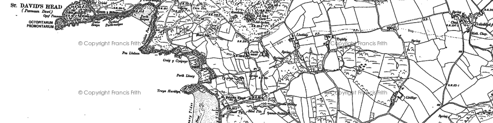 Old map of Whitesands Bay Porth-mawr in 1906