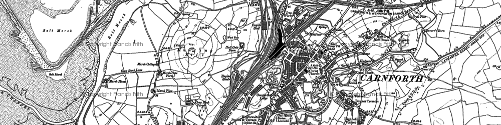 Old map of Carnforth in 1912