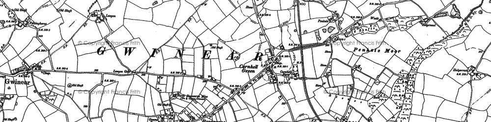Old map of Carnhell Green in 1877