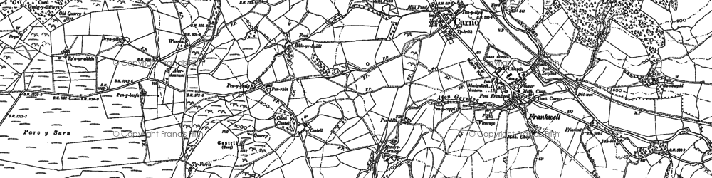 Old map of Carno in 1885