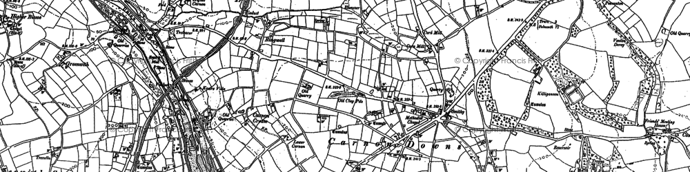 Old map of Carnon Downs in 1878