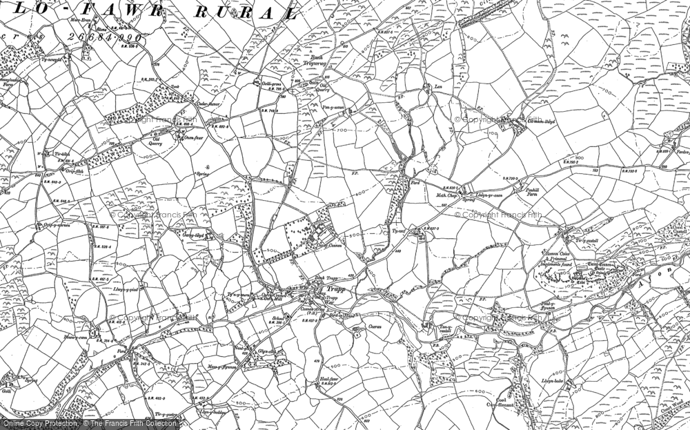 Old Map of Historic Map covering Afon Camnant in 1877