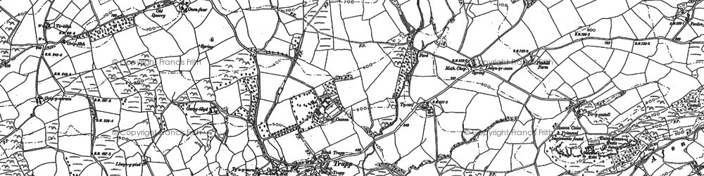 Old map of Afon Camnant in 1877