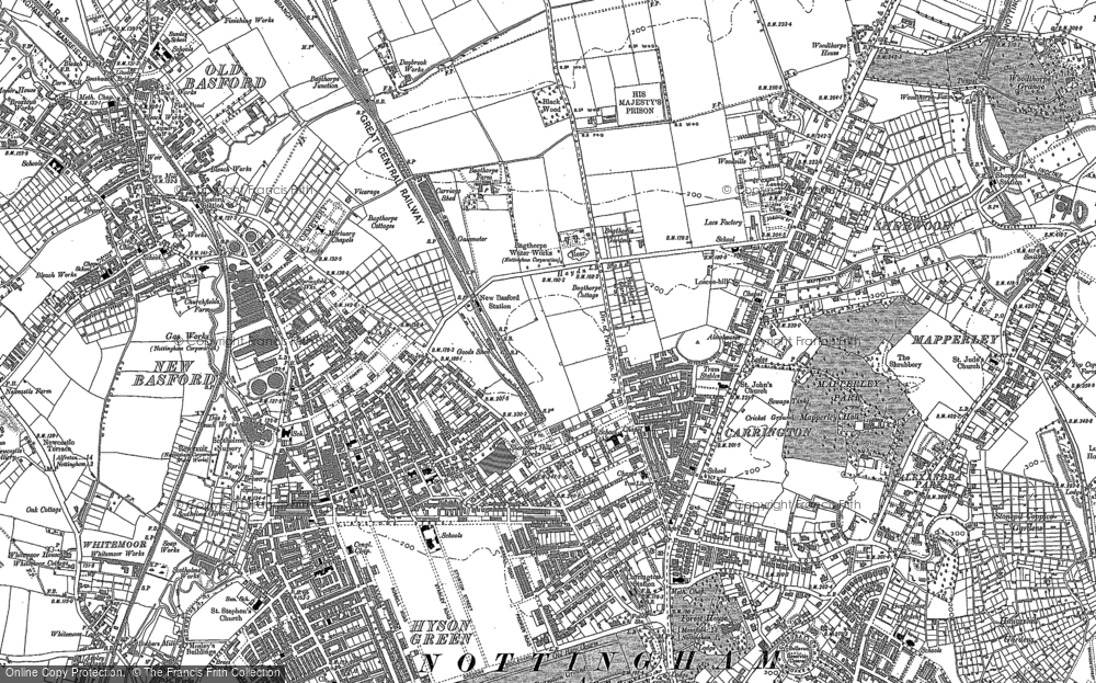 Old Map of Carrington, 1881 in 1881