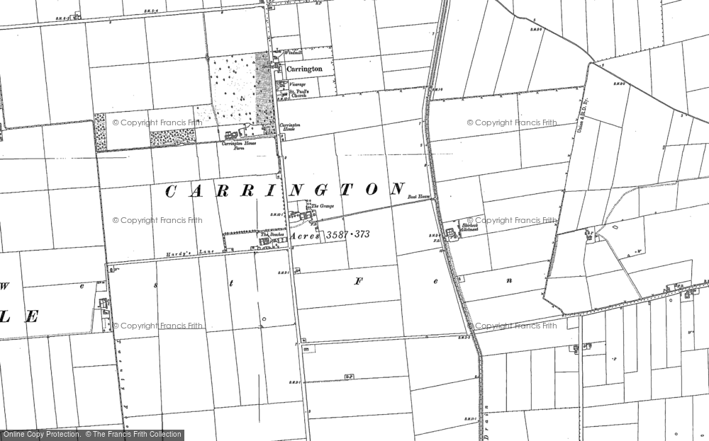 Old Map of Historic Map covering Barkers Yard in 1887