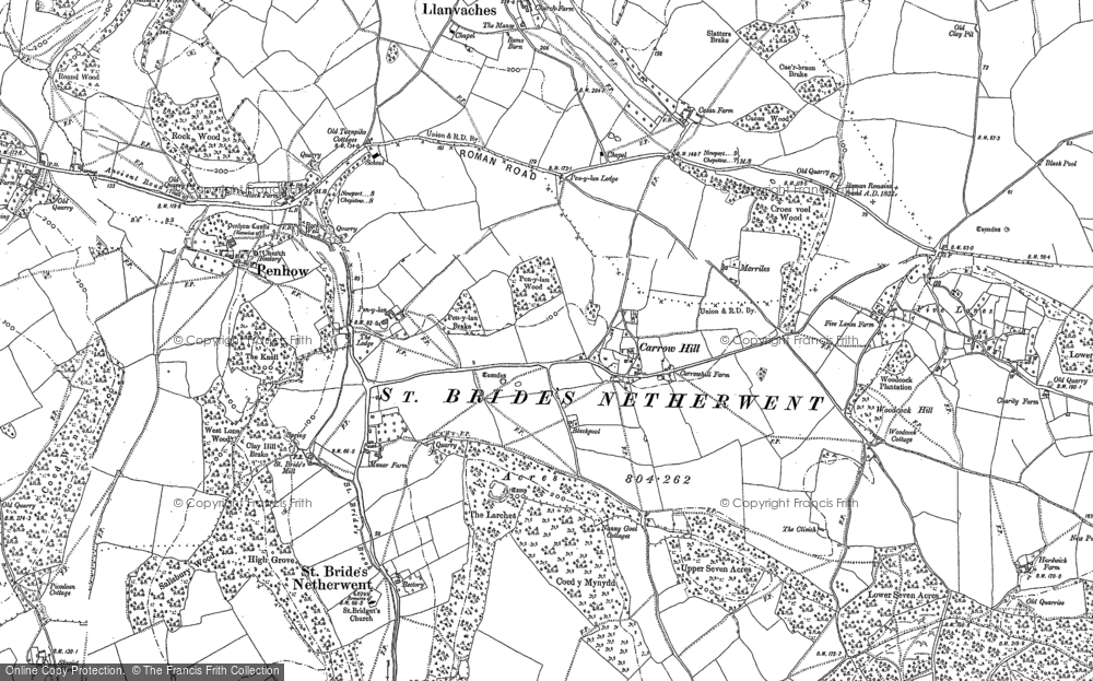 Old Map of Historic Map covering Woodcock Hill in 1900