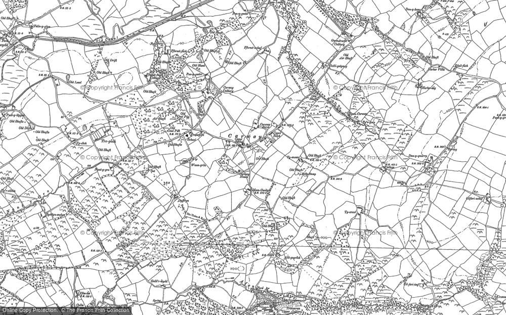 Old Map of Historic Map covering Afon Morlais in 1879