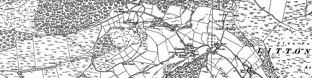 Old map of Cascob in 1886