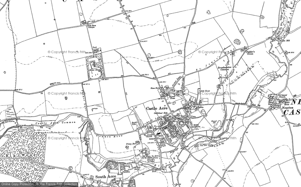 Old Map of Historic Map covering Bailey Gate in 1883