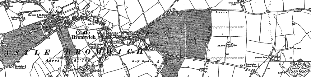Old map of Castle Bromwich in 1886