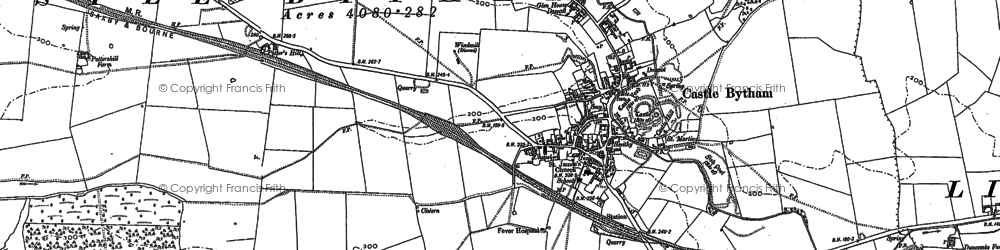 Old map of Castle Bytham in 1887