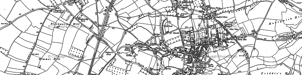 Old map of Castle Cary in 1885