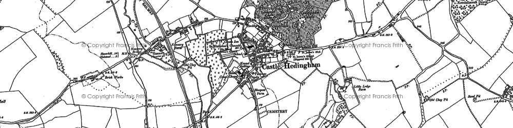Old map of Castle Hedingham in 1896