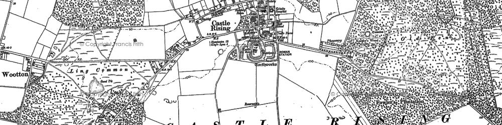 Old map of Castle Rising in 1884