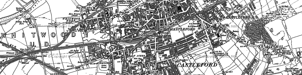 Old map of Castleford in 1890