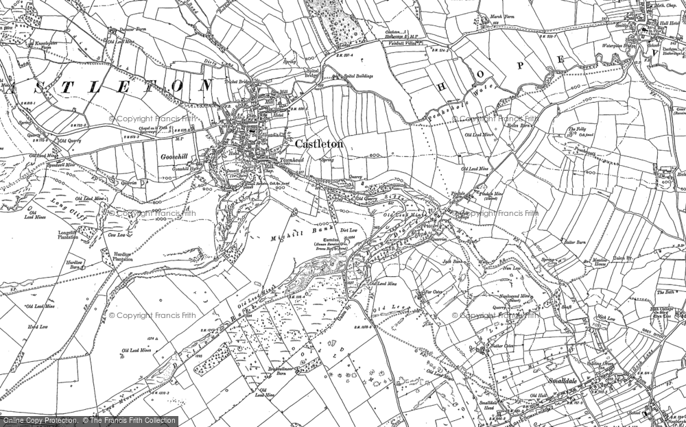 Old Map of Historic Map covering Limestone Way in 1880