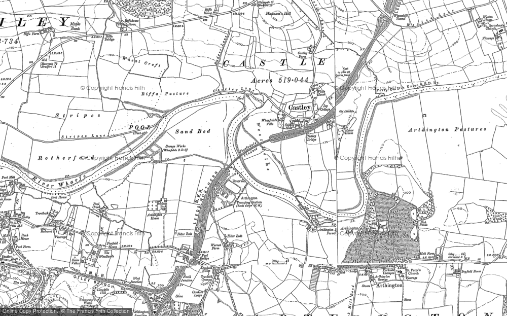 Old Map of Historic Map covering Arthington Ho in 1888