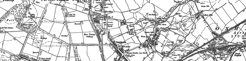 Old map of Catchgate in 1895