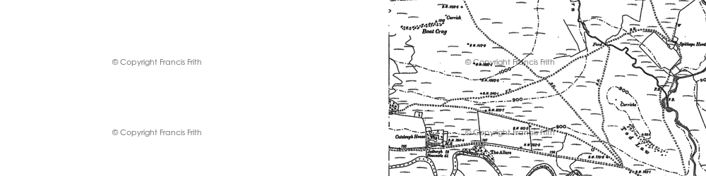 Old map of Byrness in 1896