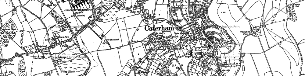 Old map of Caterham in 1895