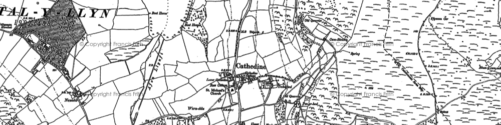 Old map of Cathedine in 1886