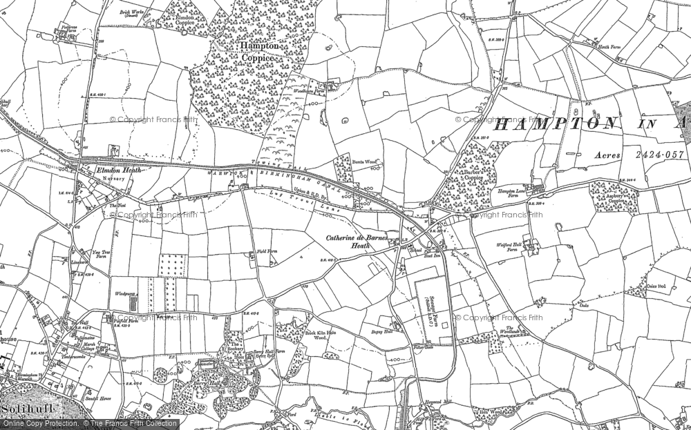 Old Map of Historic Map covering Barber's Coppice in 1886