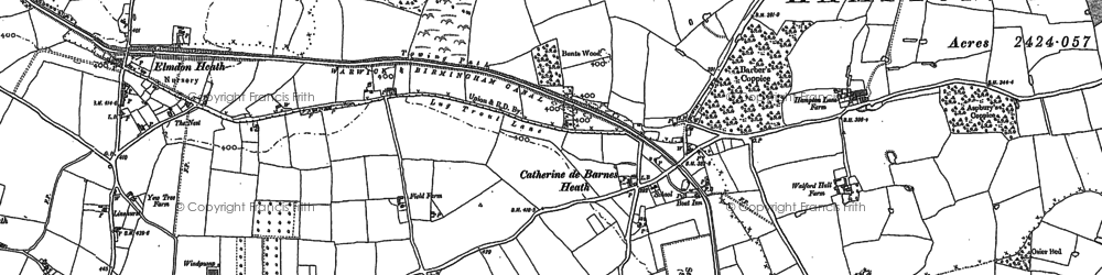 Old map of Barber's Coppice in 1886