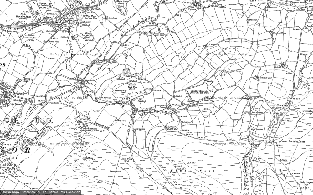 Old Map of Historic Map covering Lanefoot in 1897