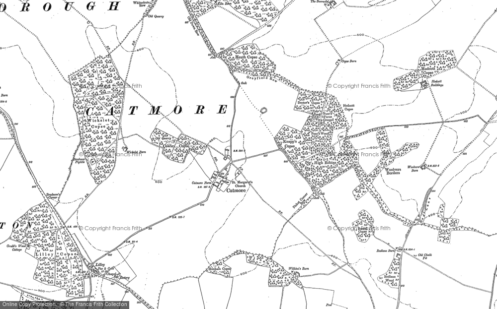 Old Map of Historic Map covering Lilley Copse in 1898