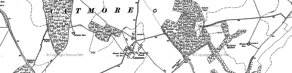 Old map of Catmore in 1898
