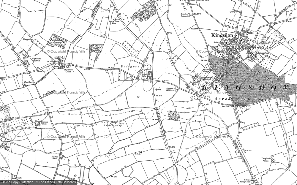 Old Map of Historic Map covering Ashen Cross in 1885