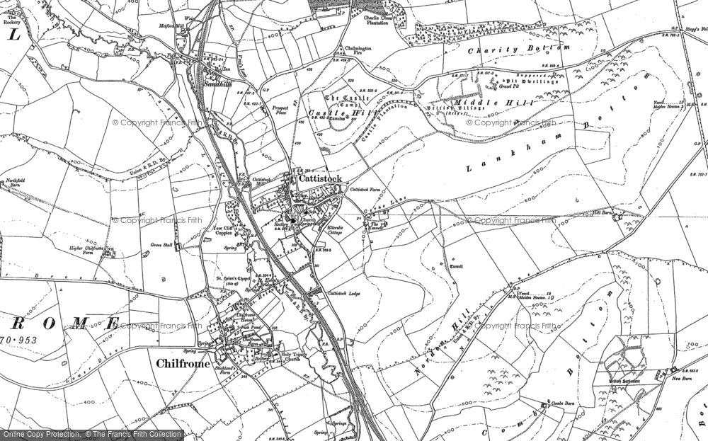 Old Map of Historic Map covering Lankham Bottom in 1887